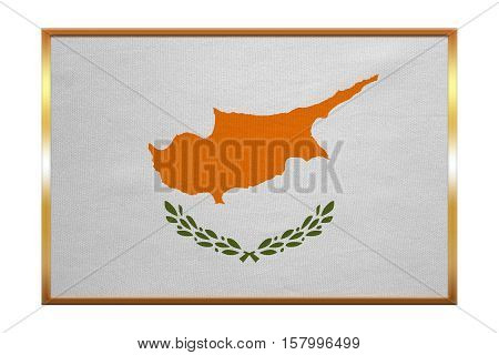 Cypriot national official flag. Patriotic symbol banner element background. Correct colors. Flag of Cyprus golden frame fabric texture illustration. Accurate size color