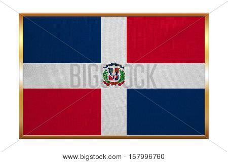 Dominican Republic national official flag. Patriotic symbol banner element background. Correct colors. Flag of Dominican Republic golden frame fabric texture illustration. Accurate size color
