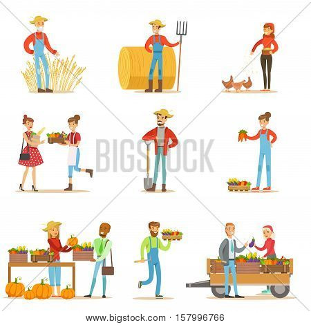Farmers Men And Women Working At The Farm And Selling Organic Farming Vegetables On Natural Fresh Product Market. Set Of Cartoon Happpy Characters Growing Crops And Animals For Food Vector Illustrations.