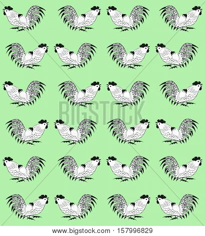 Seamless pattern with white cocks on a green background.  Roosters  are drawn by hand. Symbol of Chinese horoscope 2017 and folklore personage. Vector illustration. Vertical location.