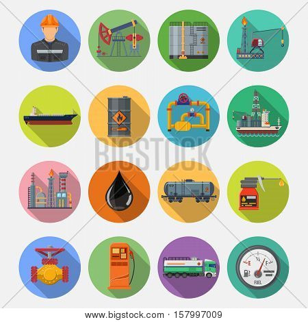 Oil industry extraction production and transportation oil and petrol Flat Icons Set with oilman, rig and barrels on colored circles with Long Shadows. vector illustration.