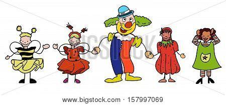 Carnival Clown And Children Celebratre Together