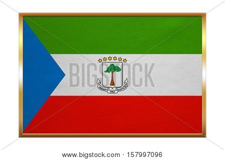 Equatorial Guinean national official flag. African patriotic symbol banner element background. Correct colors. Flag of Equatorial Guinea golden frame fabric texture illustration. Accurate size