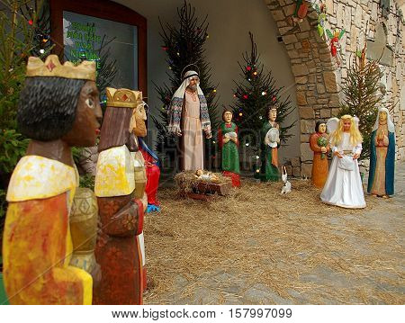 Crib Poland. Wroclaw, Poland - December 26, 2015 Crib Poland issued during Christmas at the church in Wroclaw.