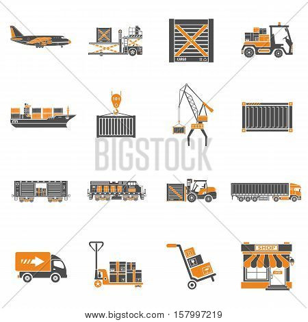 Cargo Transport, Packaging, shipping and logistics two color Icon Set such as Truck, air cargo, Train, Shipping. isolated vector illustration