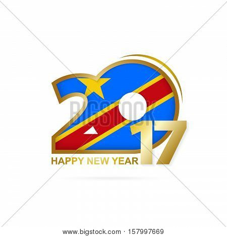 Year 2017 With Dr Congo Flag Pattern. Happy New Year Design On White Background.