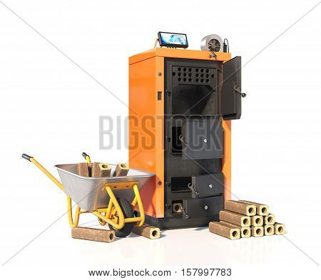 Open solid fuel boiler with briquettes of solid fuel. Isolated on white background. 3d illustration