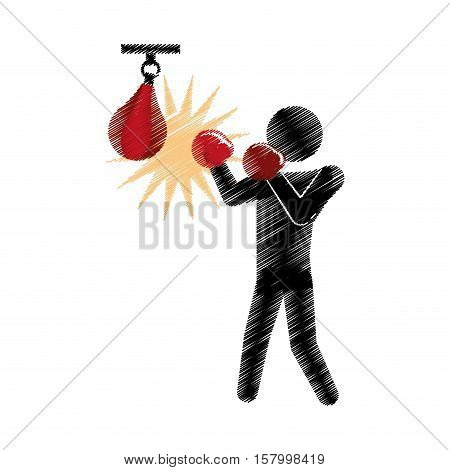 drawing colored silhouette boxer punching pear sport vector illustration eps 10