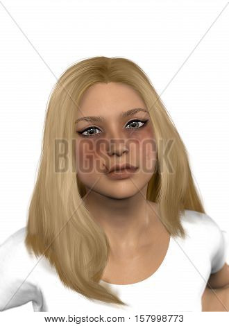 3D render of a beautiful woman victim of domestic violence abuse.