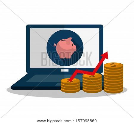 Laptop piggy and coins icon. Profit money commerce and economy theme. Isolated design. Vector illustration
