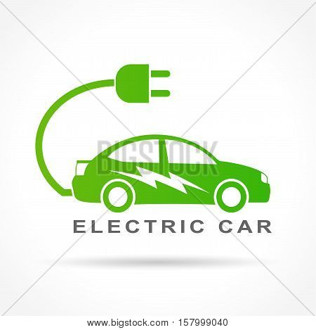 Illustration of electric car sign on white background