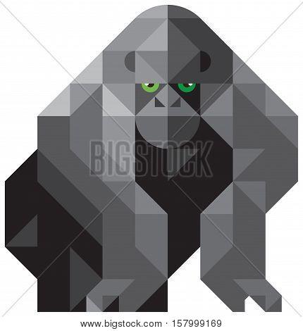 Designer modular animals created from triangles. gorilla