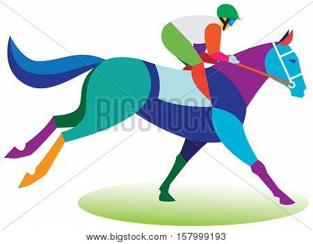 The young jockey on a horse involved in racing