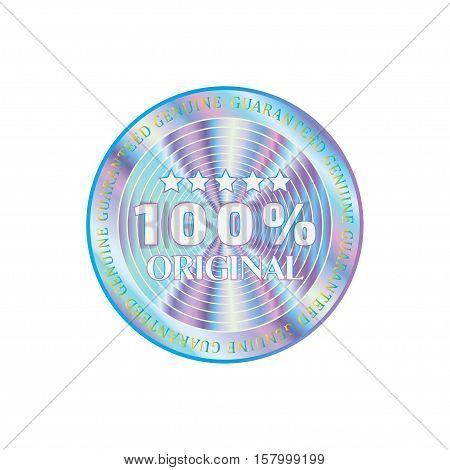 Holographic design illustration round sticker quality emblem