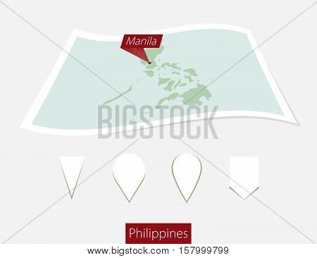 Curved Paper Map Of Philippines With Capital Manila On Gray Background. Four Different Map Pin Set.