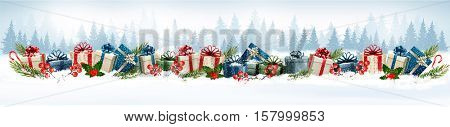 Holiday Christmas background with colorful gift boxes. Vector.