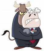 Vector illustration of an angry business bull poster
