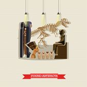 Vector illustration of found artifacts of ancient Egypt in flat style. Skeleton of dinosaur, mummies and statue of pharaohs, figurines Ushabti, Nefertiti bust. poster