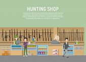 Hunting shop interior with rifle and gun weapon. Supermarket or store with hunt equipment, hunting shop with cashbox and showcase. May be used for store logo or hunting shop banner, hunt theme poster