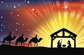 Illustration of traditional Christian Christmas Nativity scene with the three wise men poster