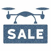 Airdrone Sale grainy textured icon for overlay watermark stamps. Flat symbol with dust texture. Dotted vector blue ink rubber seal stamp with grunge design on a white background. poster