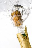 Close-up of explosion of champagne bottle cork poster