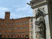Siena - wonderfully decorated Capella di Piazza at Palazzo Pubblico and Sansedoni Palace poster