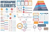 Infographic Elements - process infographics, workflow, diagrams, timeline, infographics steps and options pyramid chart, table, text box, flowchart design elements, vector eps10 illustration poster