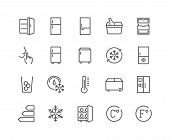 Simple Set of Fridge Related Vector Line Icons. Contains such Icons as Portable Fridge, Ice Machine, Silence and more. Editable Stroke. 48x48 Pixel Perfect. poster