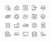 Simple Set of Hosting Related Vector Line Icons. Contains such Icons as SSD Disk, Control Panel, Traffic, Firewall and more. Editable Stroke. 48x48 Pixel Perfect. poster