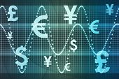 Blue World Currencies Business Abstract Background Wallpaper poster