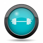 Weightlifting icon. Weightlifting website button on white background. poster