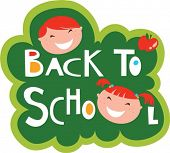 Back to school illustration with happy kids poster
