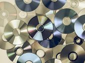 Vintage looking CD DVD BD (Bluray) optical discs for music video and data storage poster
