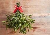 Broom from green mistletoe on wood desk. Nature background. Christmas plant poster