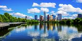 Panoramic Austin Texas Mirror Reflection on the water symmetric Skyline Cityscape summer landscape at Town Lake Riverside Pedestrian Bridge Lookout of the Capital Cities poster