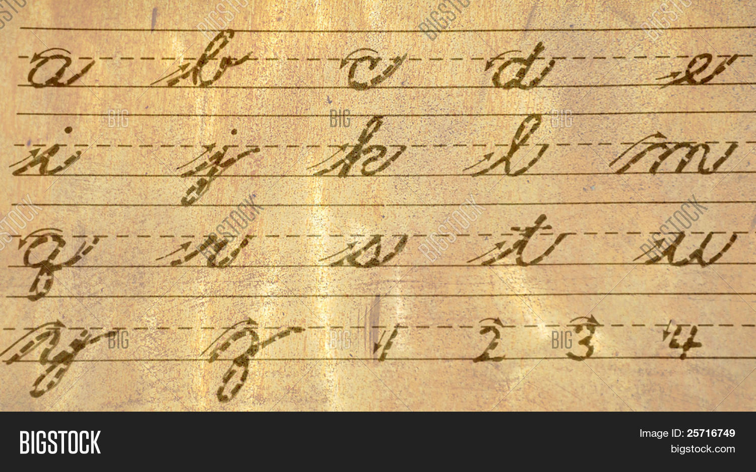 Old Fashioned Cursive Writing Guide Of Letters And Numbers