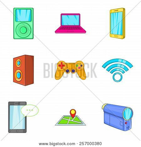 Portable Device Icons Set. Cartoon Set Of 9 Portable Device Icons For Web Isolated On White Backgrou
