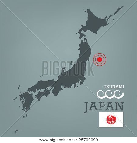 Japan map with seismic epicenter
