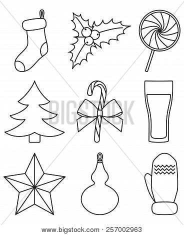 line art black and white 9 christmas elements new year holiday decorations xmas themed vector illustration for icon logo sticker patch label sign