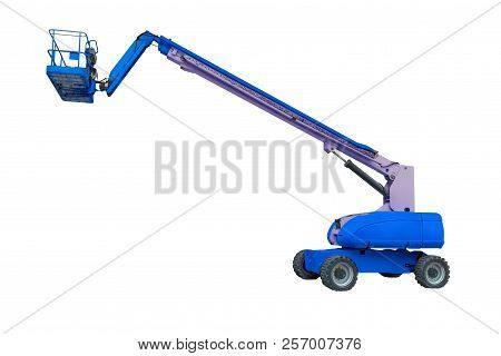 Blue Industrial Lifter Isolated On White Background