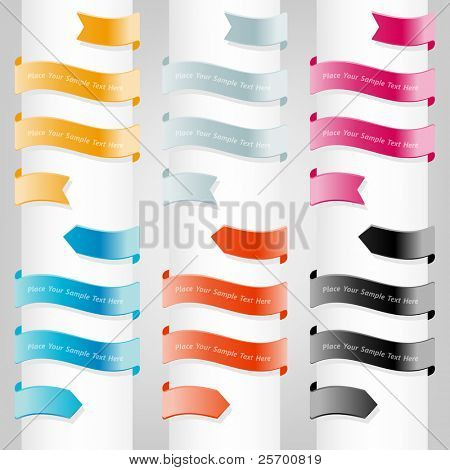 Collection of website elements. Ribbons,