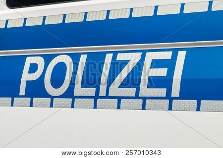 Polizei Sign On German Police Car In Germany.