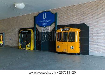 Berlin, Germany - August 18, 2018: Berliner U-bahn-museum At Olympia-stadion Subway Station In Berli