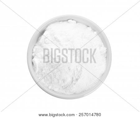 Bowl With Baking Soda On White Background, Top View