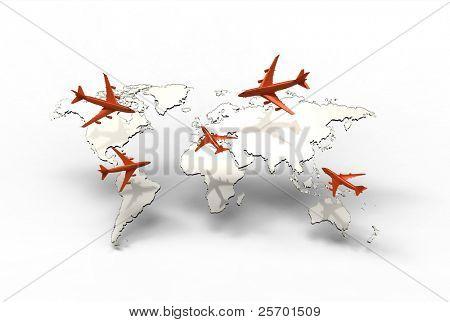 air travel around the globe