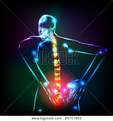 Esqueleto humano em raios-x, lombalgia, fácil editável