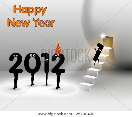 Funny New Year card , Vector Stage Spotlight design