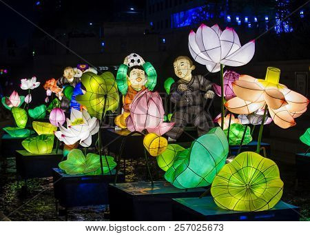 Seoul - May 11 : Colorful Lantern Decoration At Cheonggyecheon Stream During The Lotus Lantern Festi