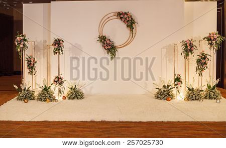 White Floral Wedding Backdrop Background. Wedding Ceremony Special Occasion Event, Decoration Concep